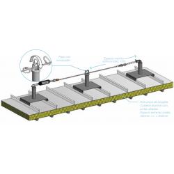 Línea de vida con postes absorbedores sobre cubierta de aluminio con juntas alzadas